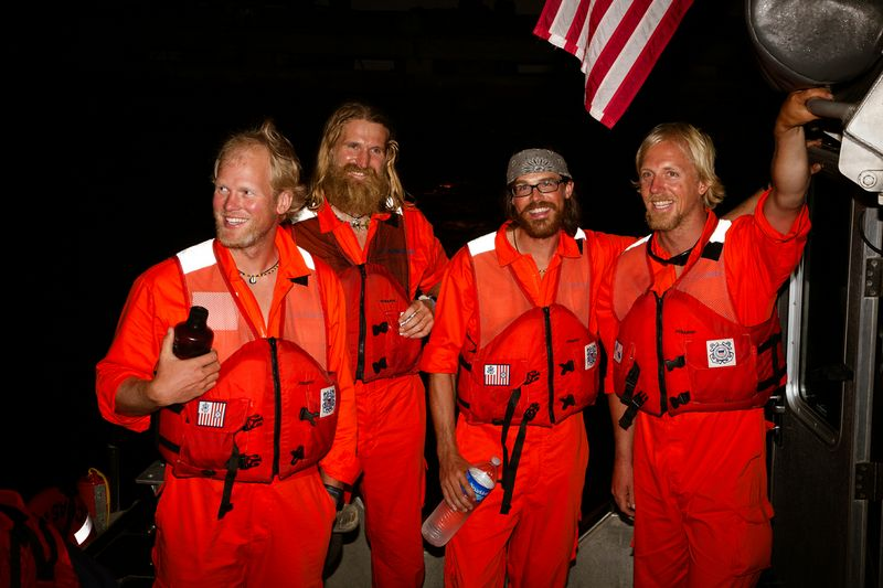 Photo of rescued rowers