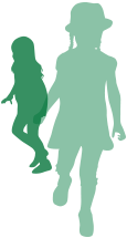 Green silhouette of 2 girls
