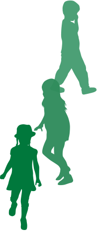Green silhouette of 3 kids