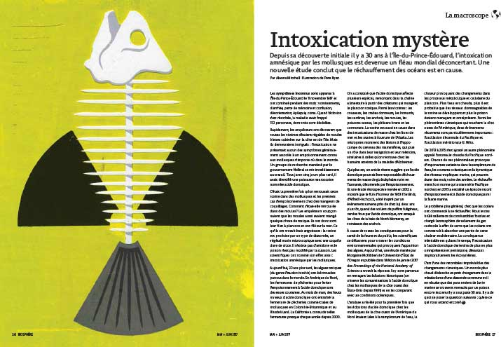 Article image with illustration of a fish skeleton and a radiation symbol