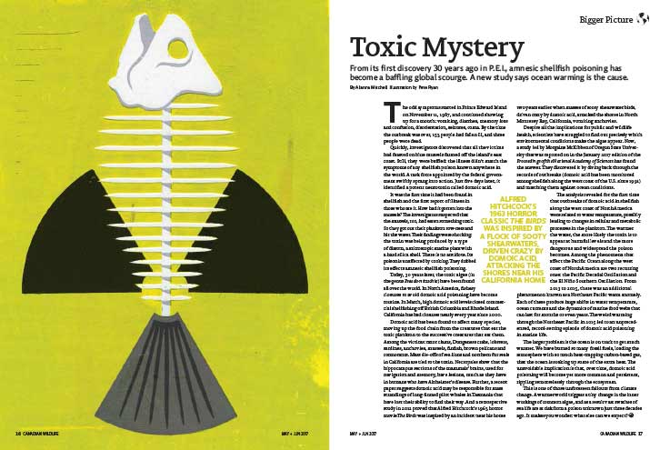 Article image with illustration of a fish skeleton and a radioactive symbol