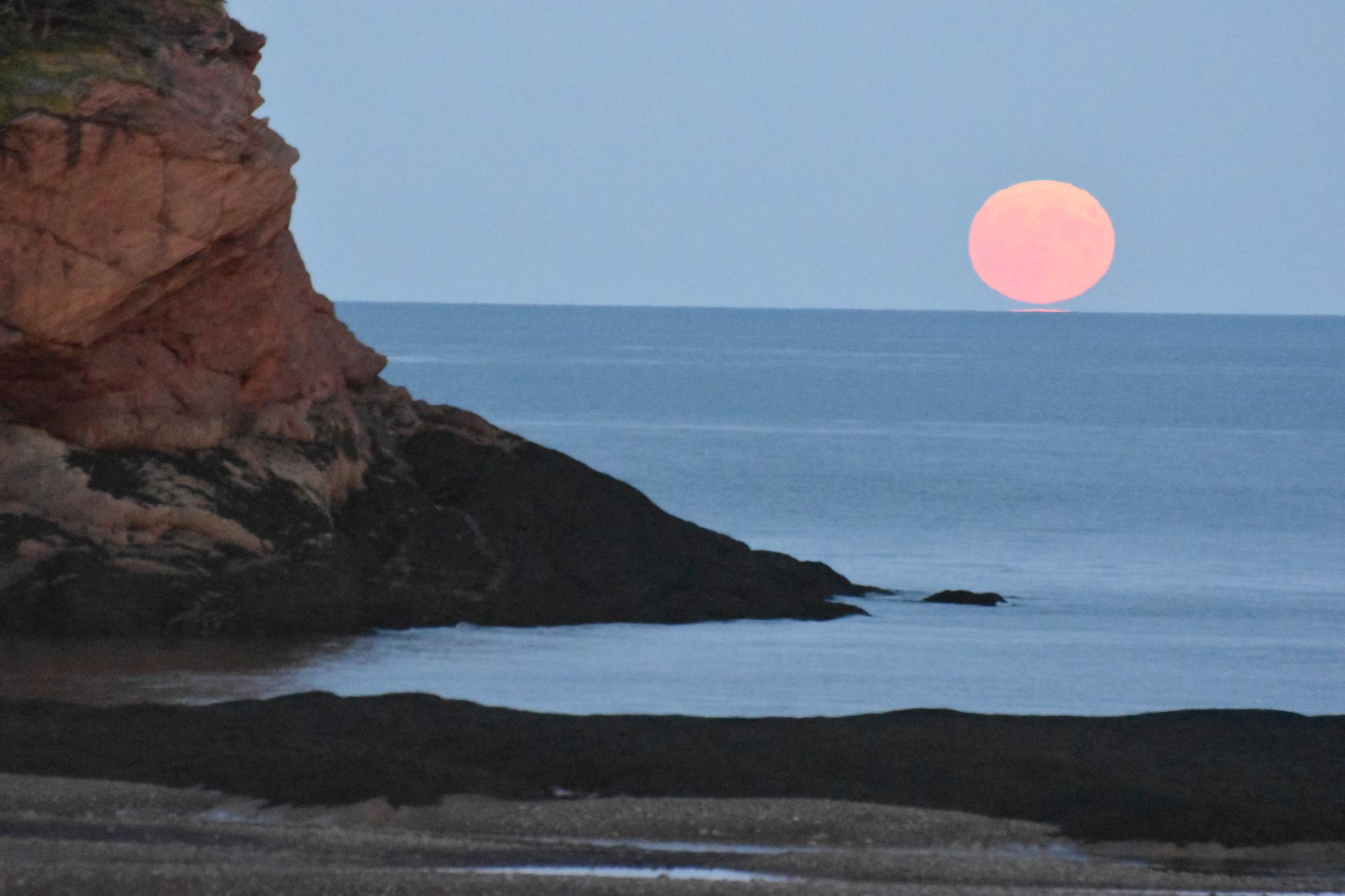 Moonrise over rocky shore