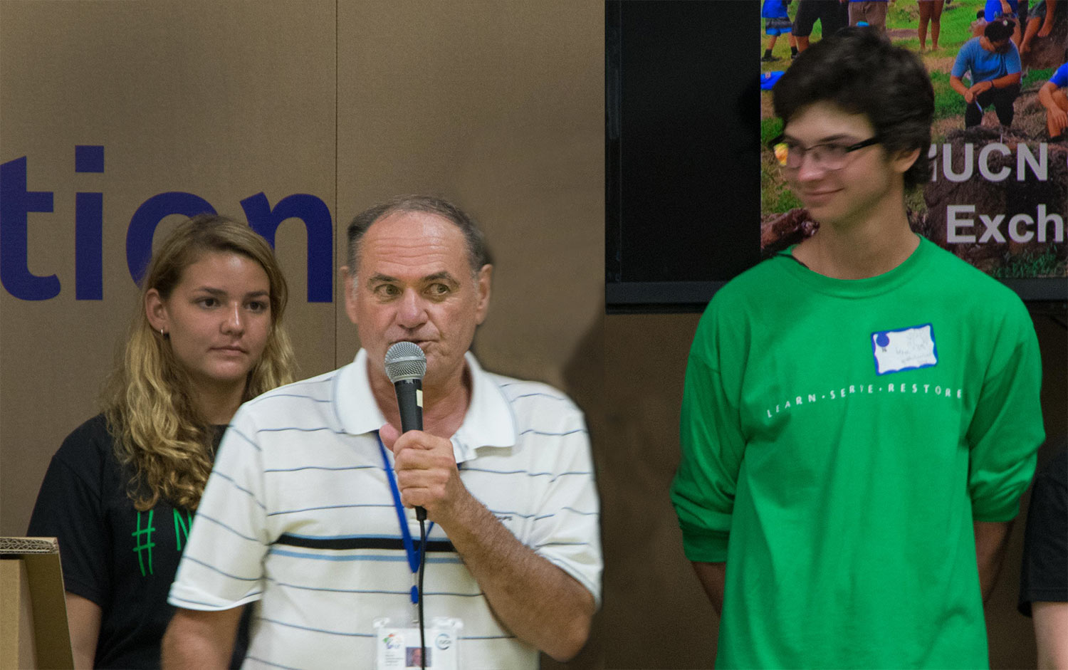 Bob speaking to students