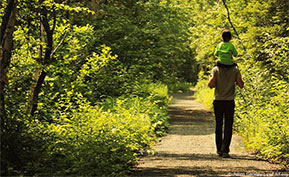 Man and child walking through forest