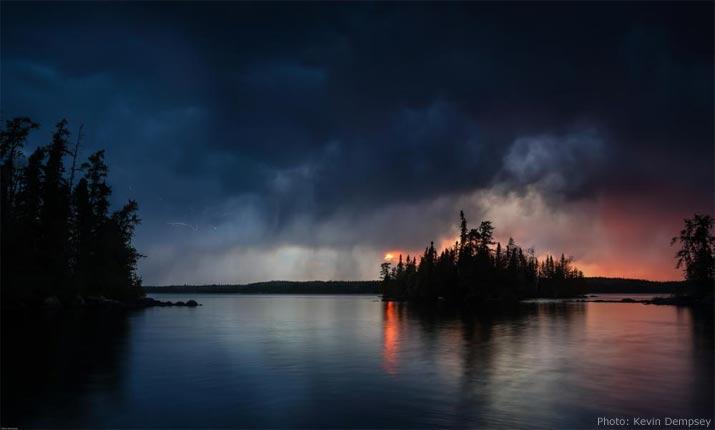 Savant Lake during a lightning storm