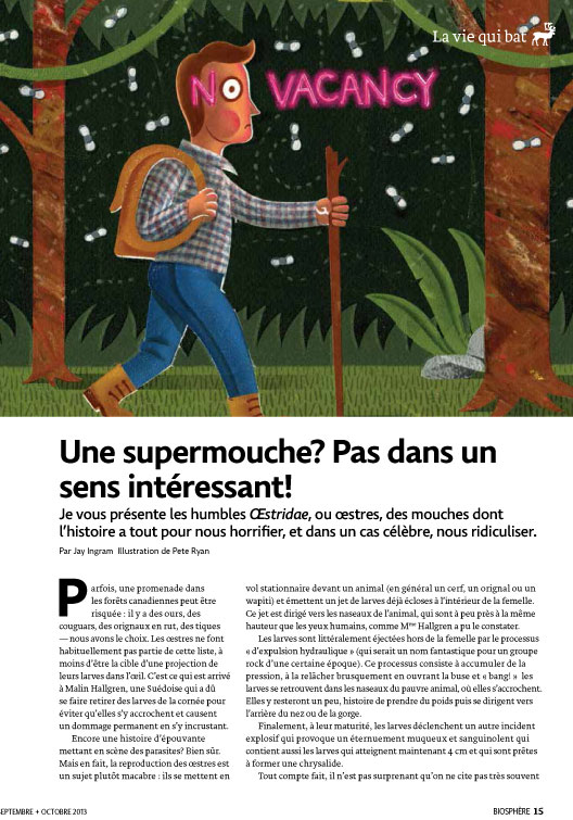 Article image with a scared man walking through a forest
