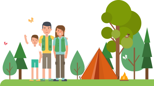 Illustration of mom and dad with kids by their tent