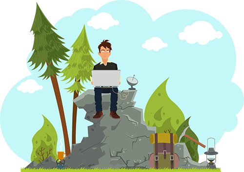 Illustration of a man on a computer on a rock with a satellite