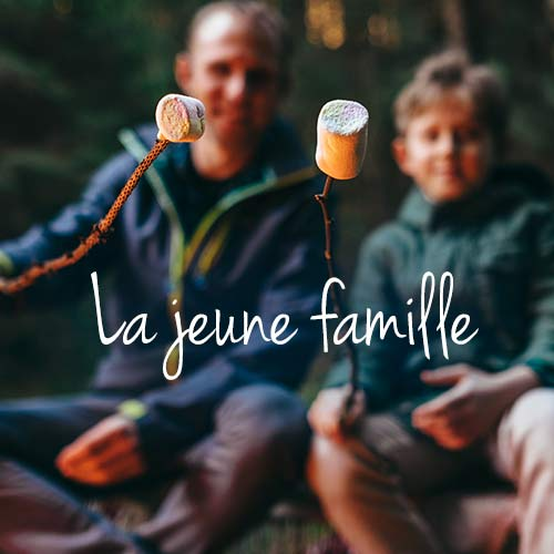The young family camping banner