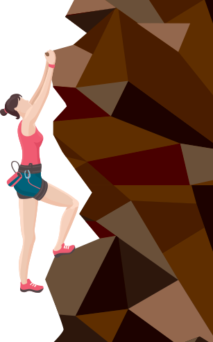 Illustration of rock climber
