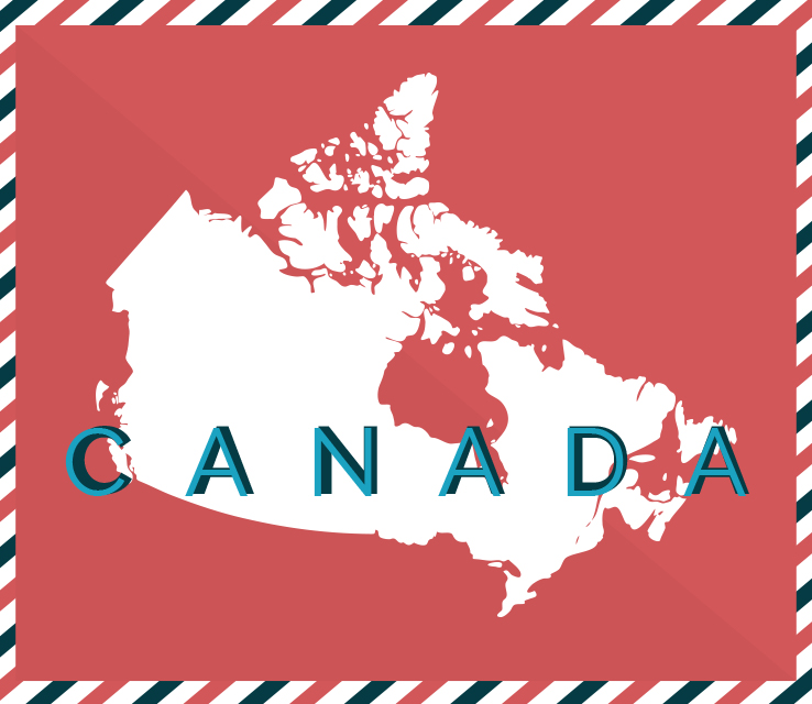 canada map postcard style