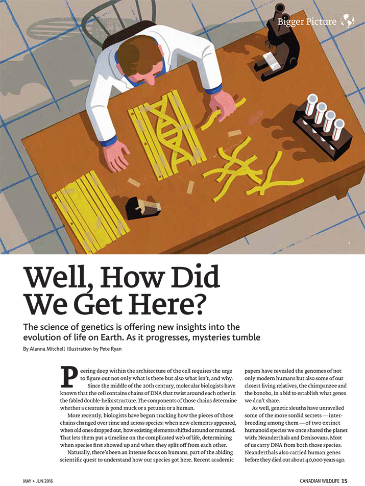 Article image with illustration of researcher working on DNA strands