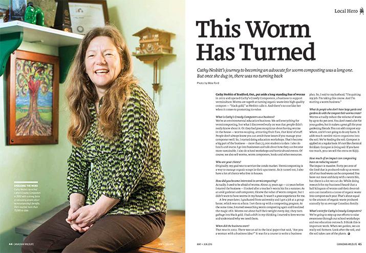 Canadian Wildlife Magazine Article Local Hero Worm Composting