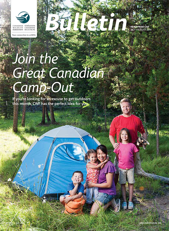 Bulletin cover with photo of a family camping