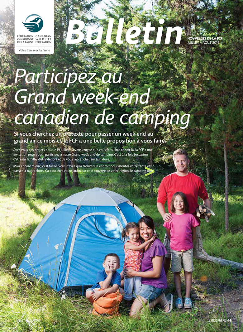 Bulletin cover with photo of family camping