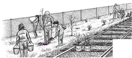 Illustration of people planting trees beside railroad tracks