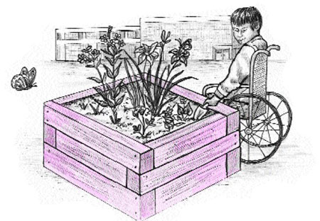 Illustration of planter box that is wheelchair accessible