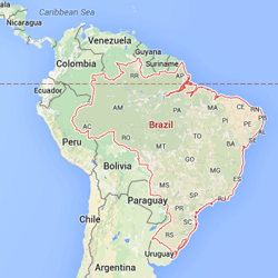 Brazil highlighted on a map