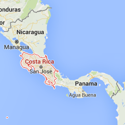 Costa Rica highlighted on a map