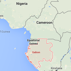 Gabon highlighted on a map