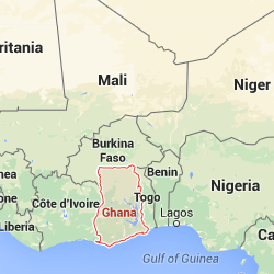 Ghana highlighted on a map