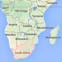 South Africa highlighted on a map