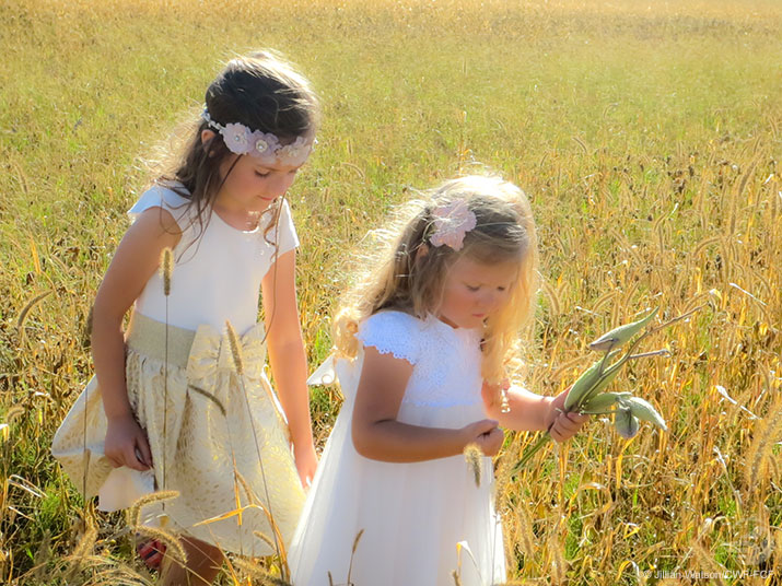 Girls outside in a field