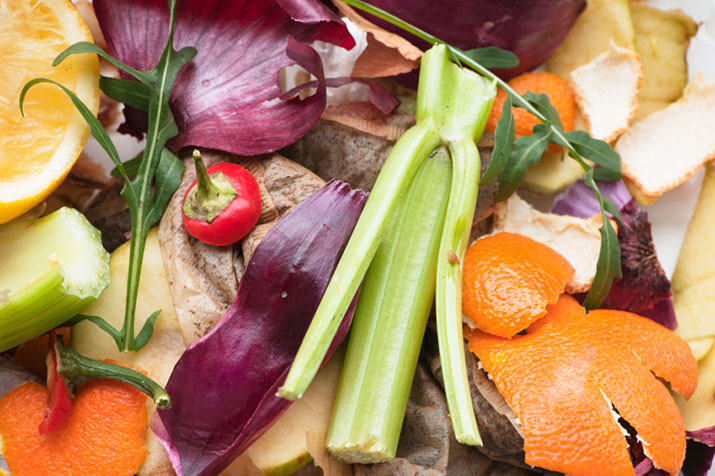 Fruit and vegetable scraps for compost