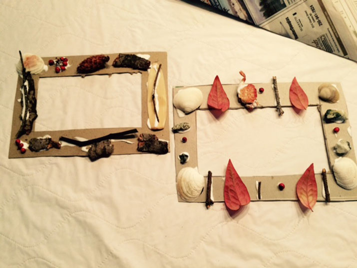 Home made craft picture frames