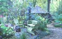 Jade Brown's backyard garden sitting area