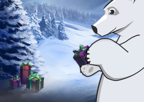 Illustration of polar bear witha christmas gift