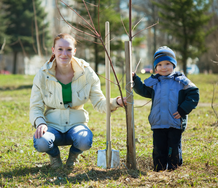 Mother and son beside a newly planted tree