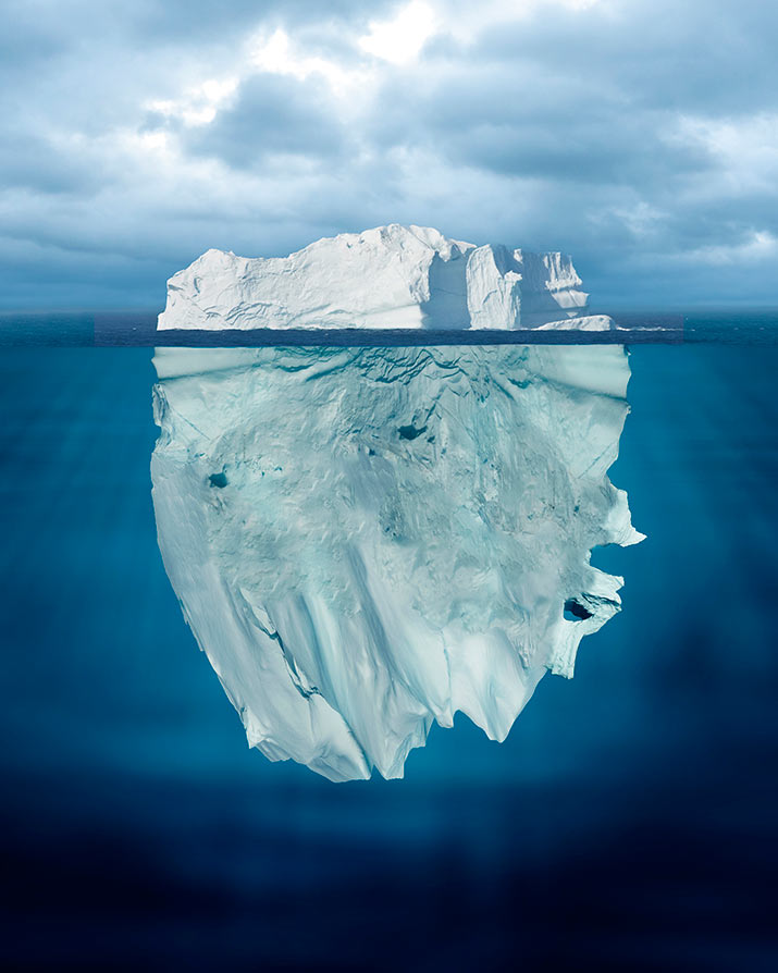 Iceberg perception above and below the water