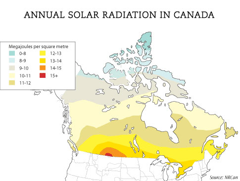 Canadian Wildlife Federation How Effective Are Solar Panels In Canada - Solar location map