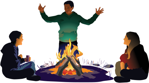 Illustration of campfire with people around it