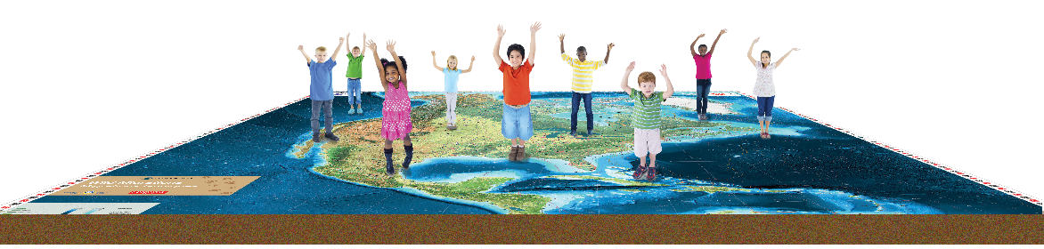 Kids standing on floor map