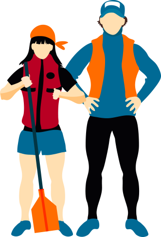 Man and woman with life jackets and a paddle illustration