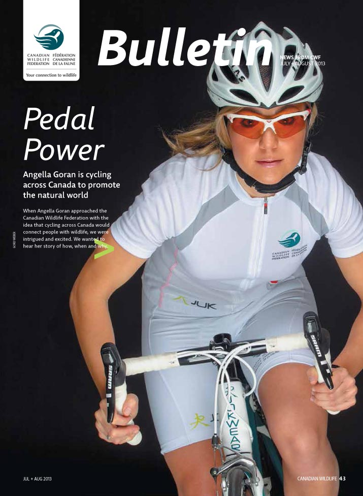 Bulletin cover with photo of Angella Goran on her bike