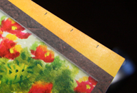 Ruler measuring out every 2 centimeters on magazine page