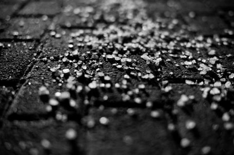 Salt on pavement
