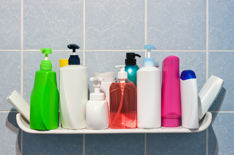 Shampoo bottles in a bathroom