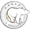 Illustration of toonie Canadian currency