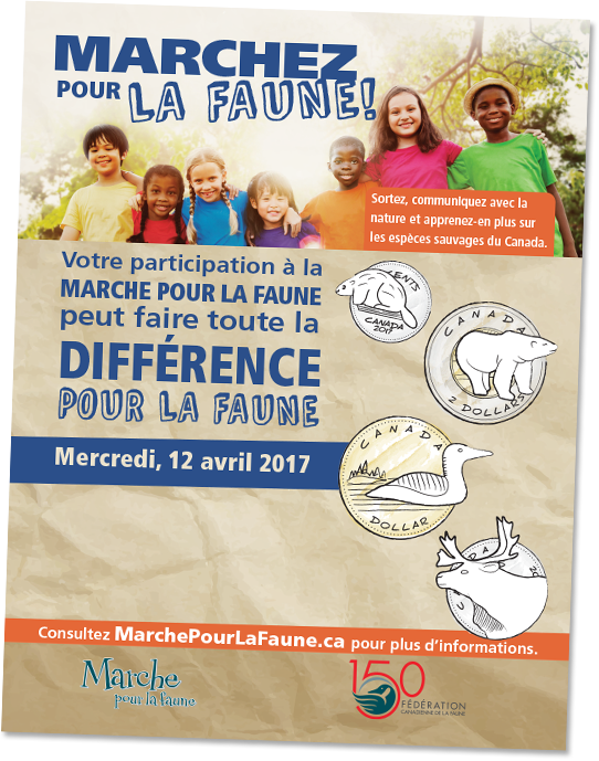 Walk for wildlife poster in french