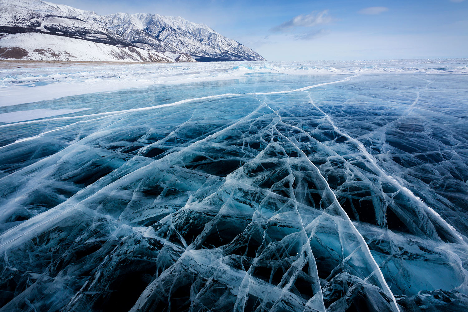 frozen winter lake