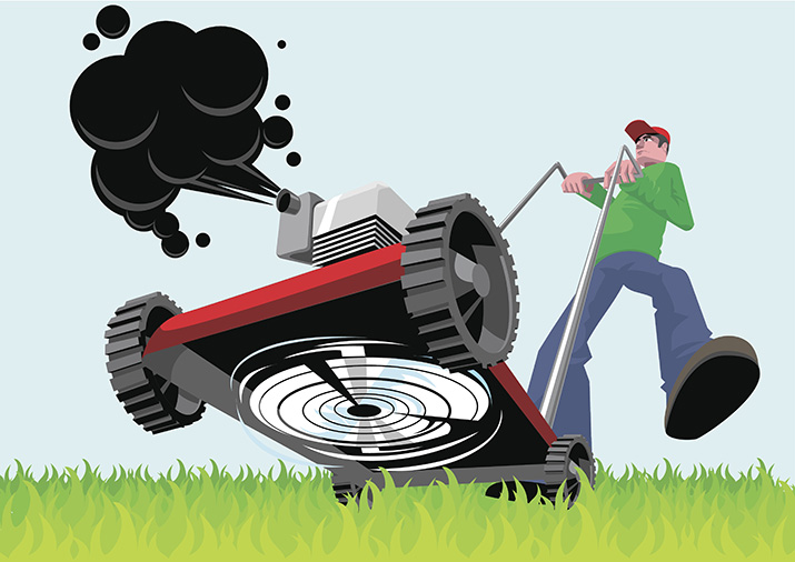 Illustration of man mowing his lawn and causing pollution