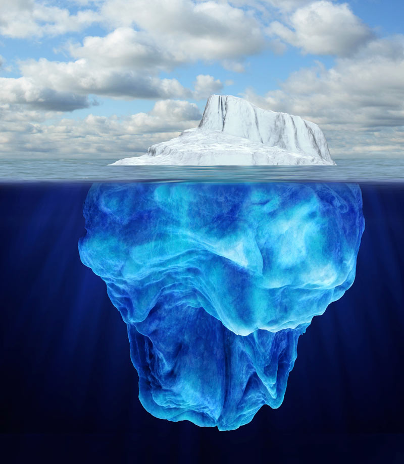 Iceberg above and below the waterline