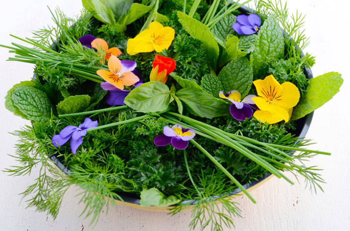 Basket of edible flowers