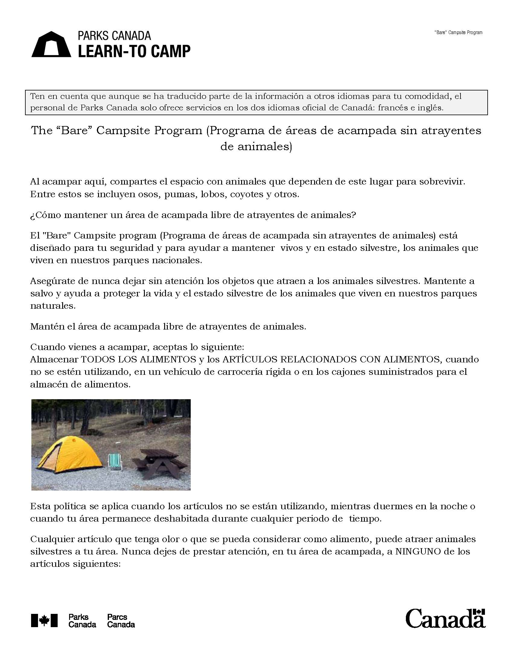Spanish Learn to Camp Guide