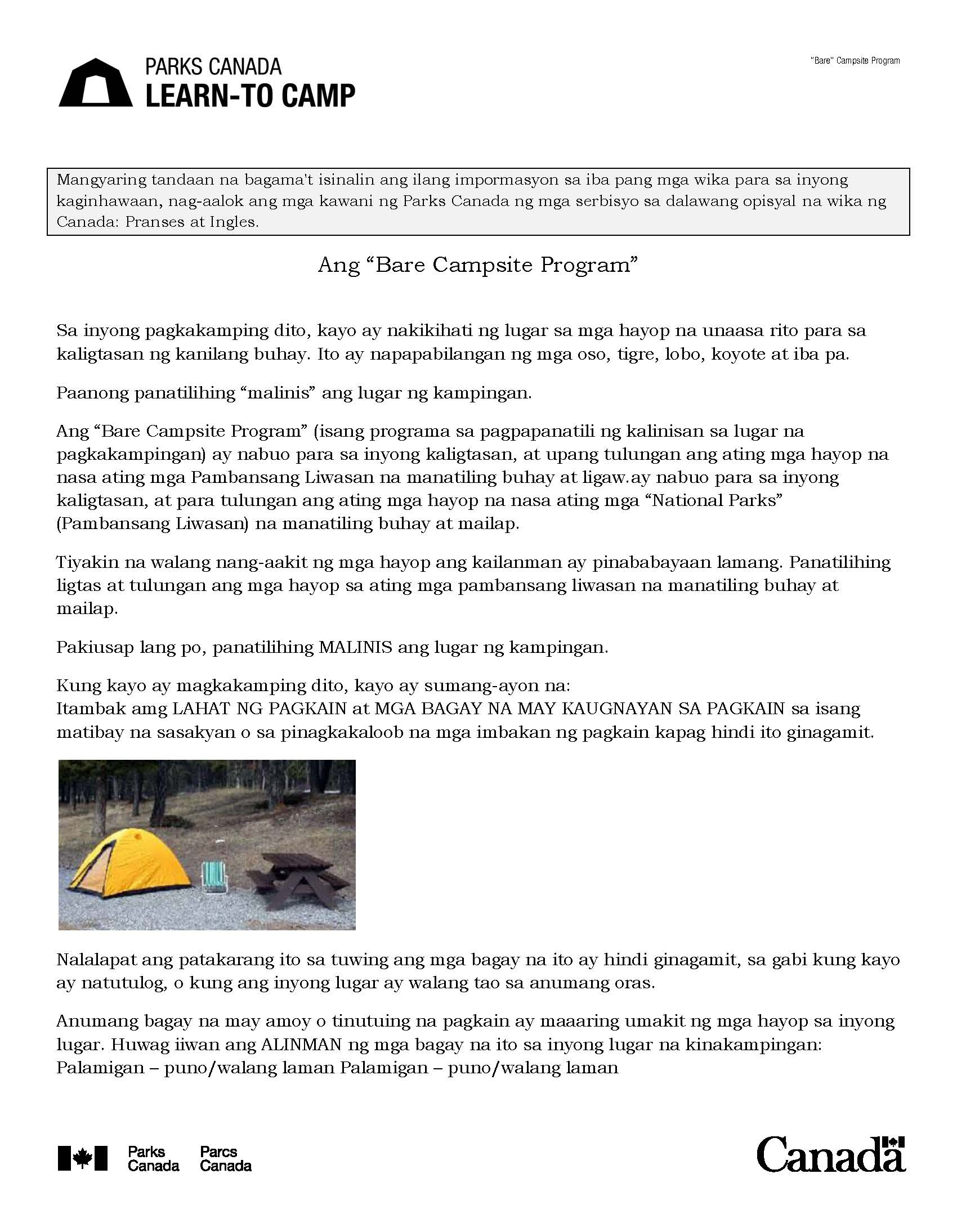 Tagalog Learn to Camp Guide