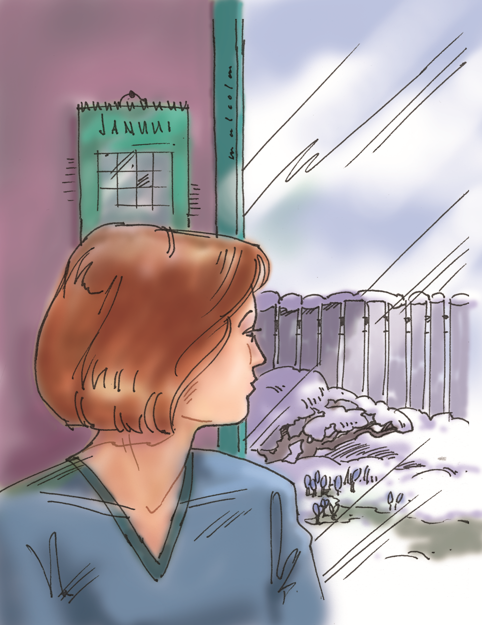 Illustration of women looking out a window at snow and crocuses coming up